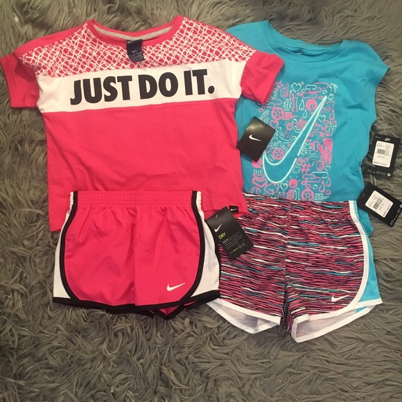 a3a00790ff2 Nike Girls Outfit Lot 2 Shirts and Shorts Matching